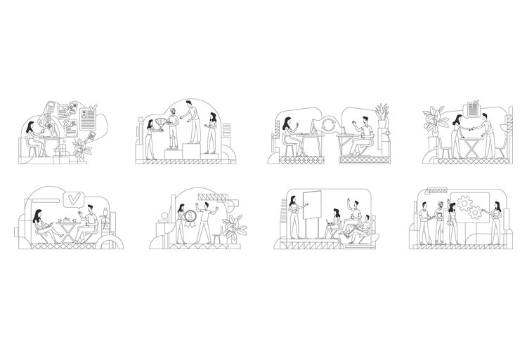 HR management thin line vector illustrations set example image 1