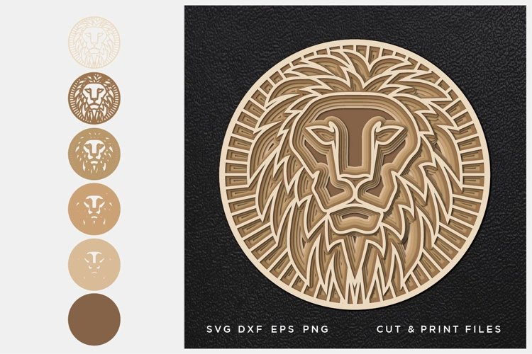 Lion svg, Cut file Mandala, Multilayer, Layered svg