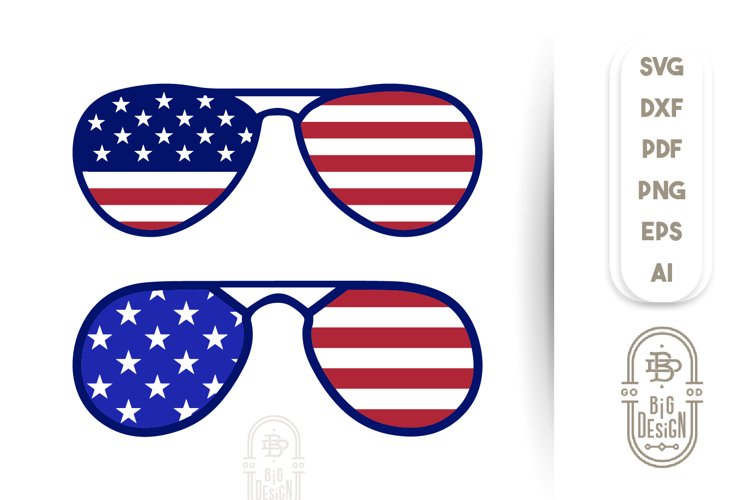 4th of July - USA Flag on Sunglasses example image 1
