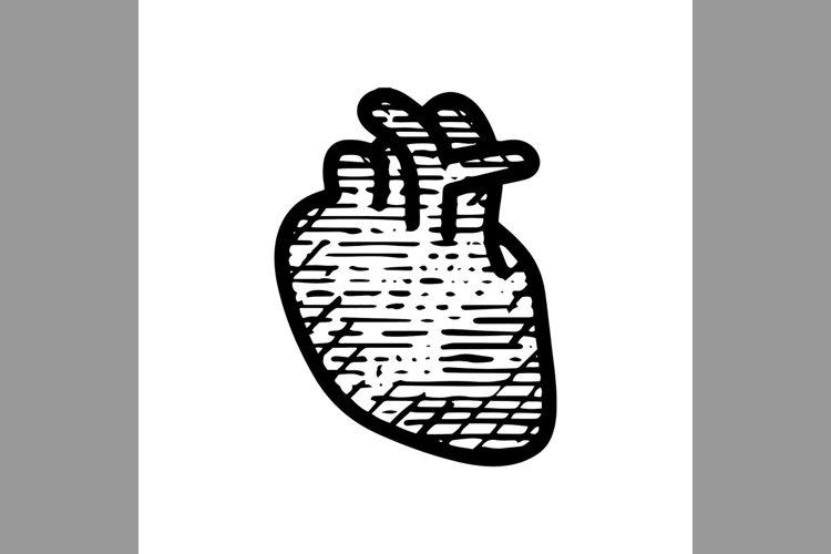 hand drawn heart human symbol line icon, Vector Illustration example image 1