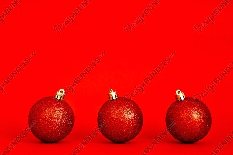 Christmas flat lay on red background. example image 1