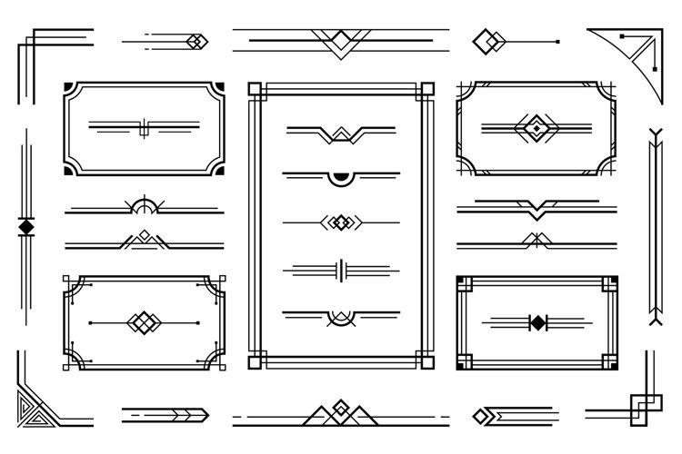 Download Linear Geometric Art Deco Ornaments Retro Label Frame Mini 1013261 Elements Design Bundles
