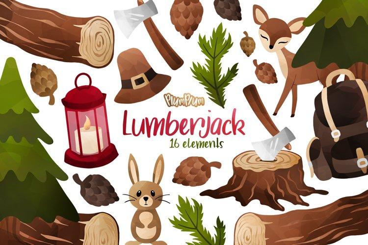 Lumberjack Watercolor Cliparts example image 1