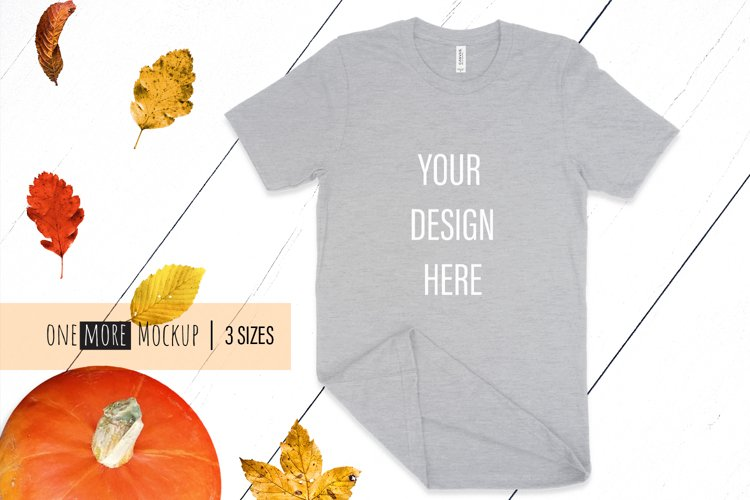 Fall T-Shirt Mockup I Bella Canvas 3001 Heather Athletic example image 1