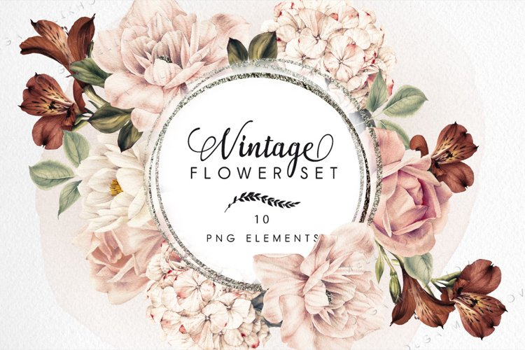 Watercolor flowers, Vintage style example image 1