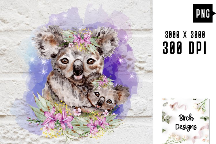 Floral Koala Baby and Mother Australian Animals Sublimation example image 1