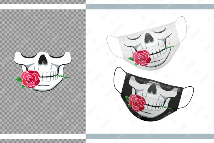 Funny skull design with Rose for protective face mask. example image 1
