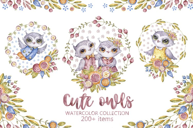 Cute owls clipart. Watercolor collection with floral forest