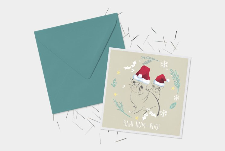 Christmas Greeting Card - Editable Digital Pug Illustrations example image 1