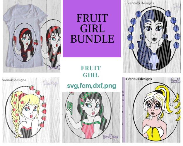 Fruit girl bundle, pinup character svg, comic girl svg,