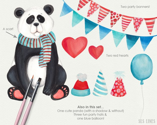 Cute Panda Watercolor Illustration example 2