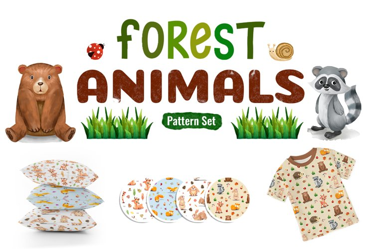 Watercolor Forest Animal Pattern Set example image 1