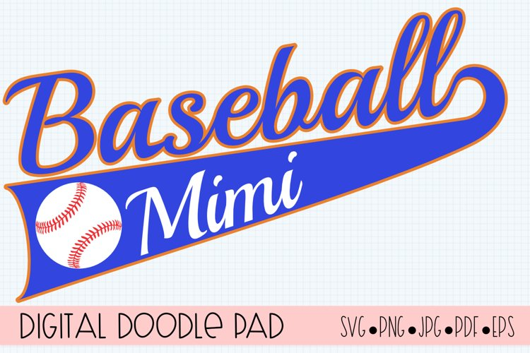 Baseball Mimi SVG | Silhouette and Cricut Cut File example image 1