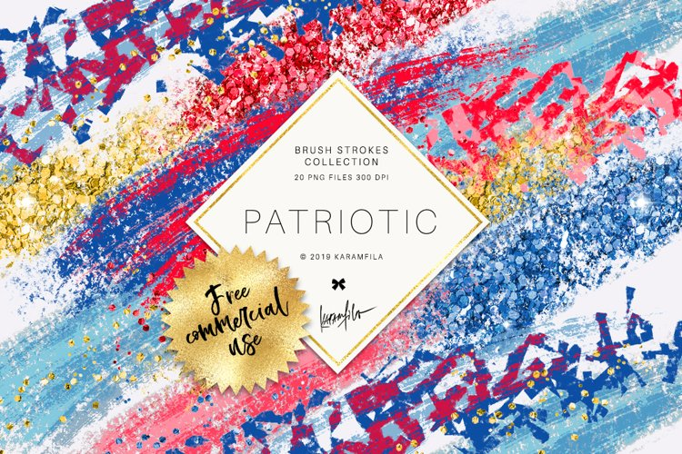4th of July Brush Stroke Clipart