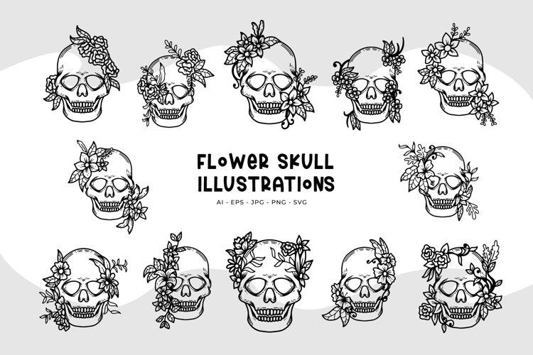 Flower Skull Illustrations