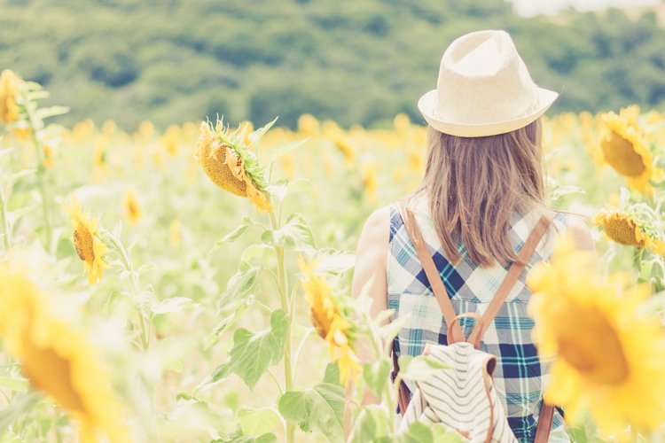 Girl standing in a sunflowers field example image 1