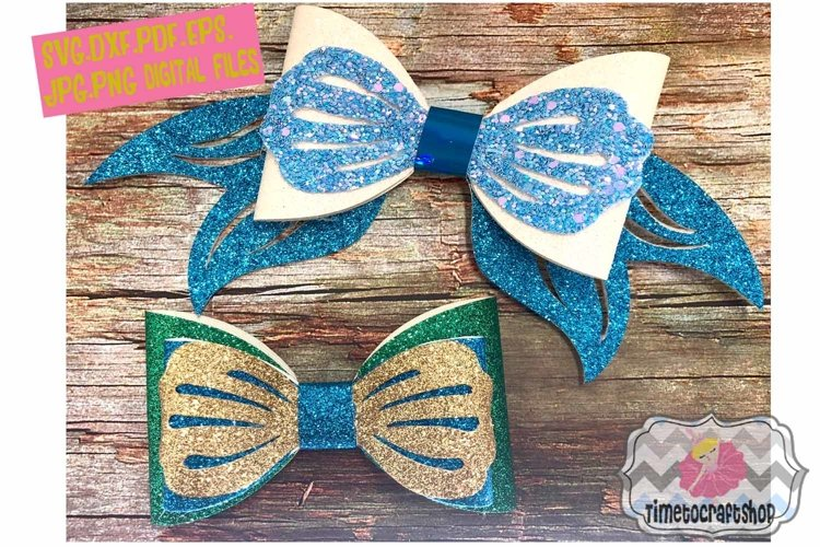 Mermaid Hair Bow Template. Svg. Dxf. Pdf. Eps. Jpg. Png example image 1