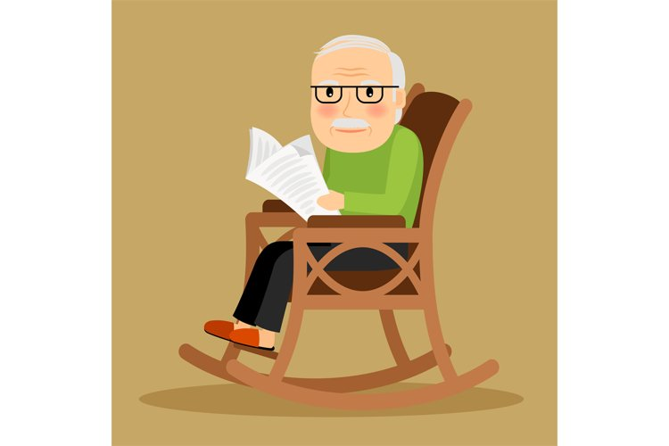Old man sitting in rocking chair and newspaper example image 1
