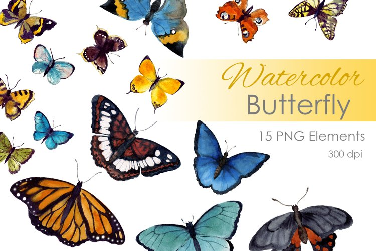 Watercolor Clipart. Watercolor digital clipart. Butterfly example image 1
