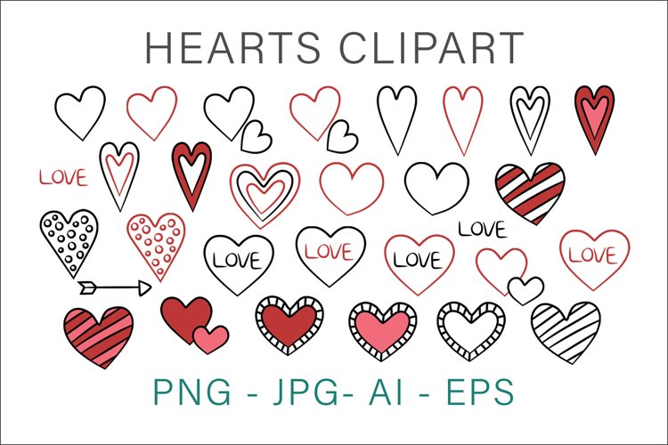 Hearts Hand Drawn Valentines Clipart