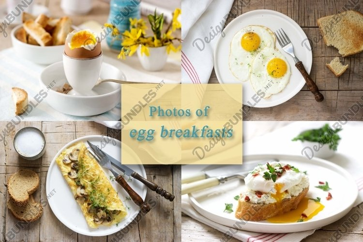 A set of photos of breakfast eggs in rustic style. example image 1