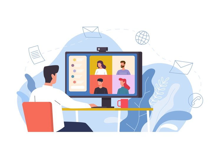 Video conference. Man at desk provides collective virtual me example image 1