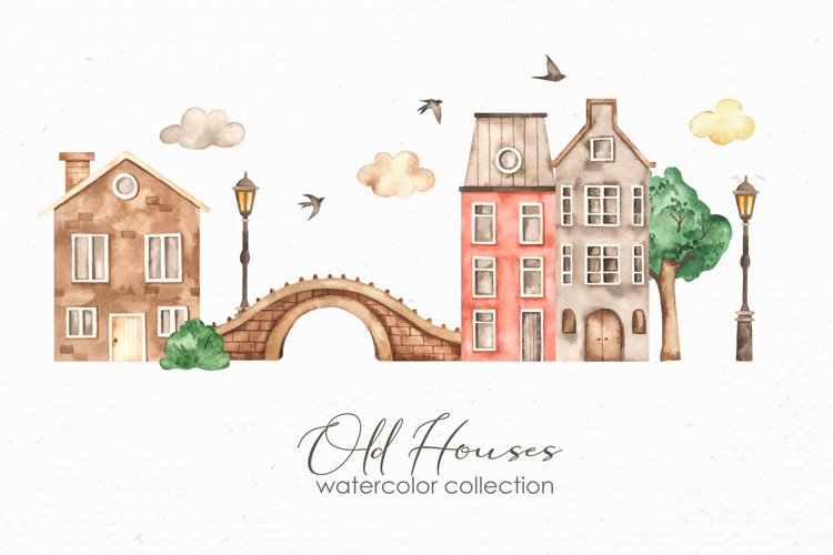 Old houses watercolor clipart example image 1