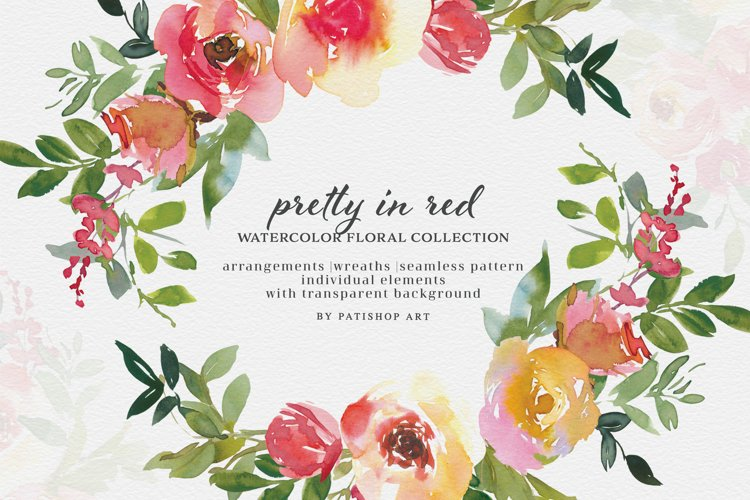 Red & Lemon Watercolor Floral Clipart Collection example image 1