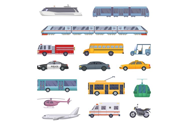 Different municipal transportation set. Vector illustrations example image 1