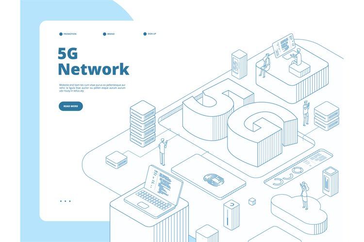 5g landing page. Wifi broadcasting 5g technology, speed inte example image 1