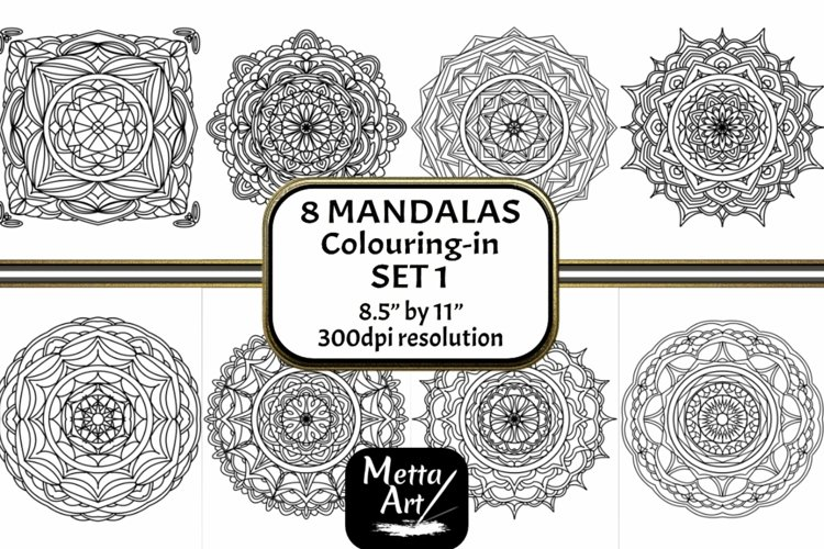 8 Mandala Set 1 - 8.5 x 11 Colouring in Pages