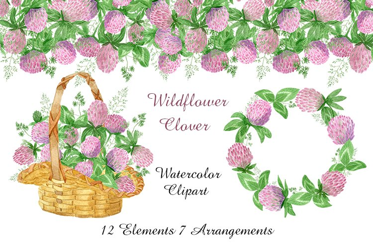 Watercolor wildflower clover. Wildflower clipart. St.Patrick example image 1