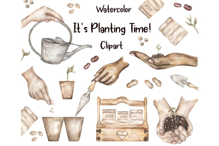 Watercolor Planting time, Gardening Clipart example image 1