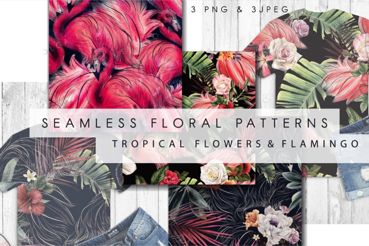 Tropical seamless patterns, Watercolor flowers example image 1