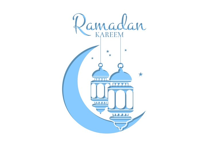 Vector Ramadan illustration in paper style with lanterns example image 1