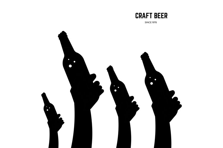 Hands with beer bottles black vector silhouettes example image 1