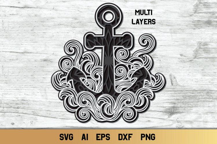 3d Anchor SVG | Layered Nautical Design | 4 Layers Cut file