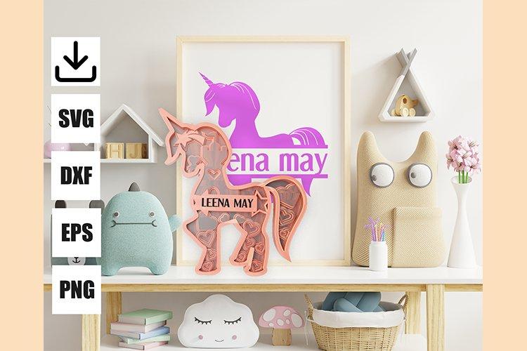 Layered unicorn custom and monogram unicorn, easy to cut example image 1
