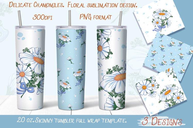 Delicate Chamomile. Tumbler sublimation design. example image 1
