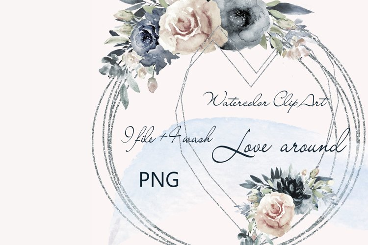Watercolor Clipart Wedding Geometric frames Heart flowers