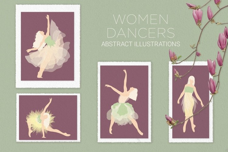 Women dancers abstract illustrations, vector files