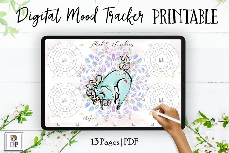 Digital Habit Trackers Y10 Yoga Series for Planner PRINTABLE example image 1