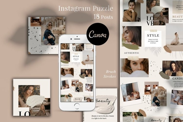 Instagram Puzzle Grid, Canva example image 1