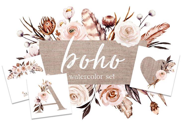 Flowers bundle Boho watercolor painting, floral alphabet.