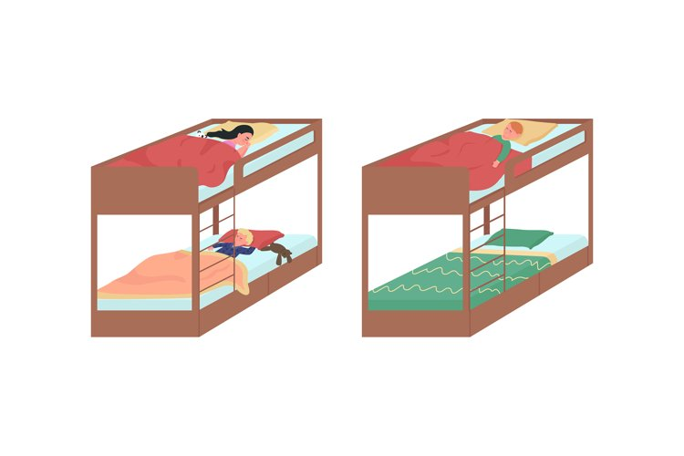 Children sleeping on bunk beds color vector character set example image 1
