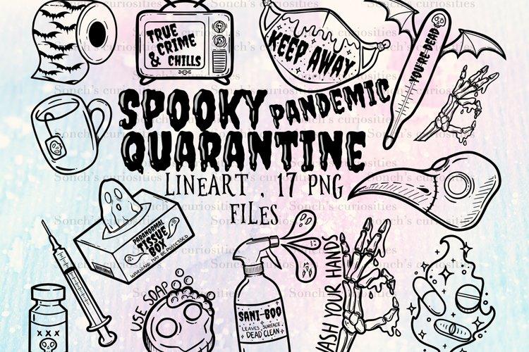 Spooky pandemic - Covid quarantine clipart lineart