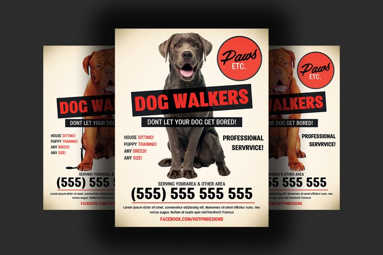 Dog Walkers Flyer Template example image 1