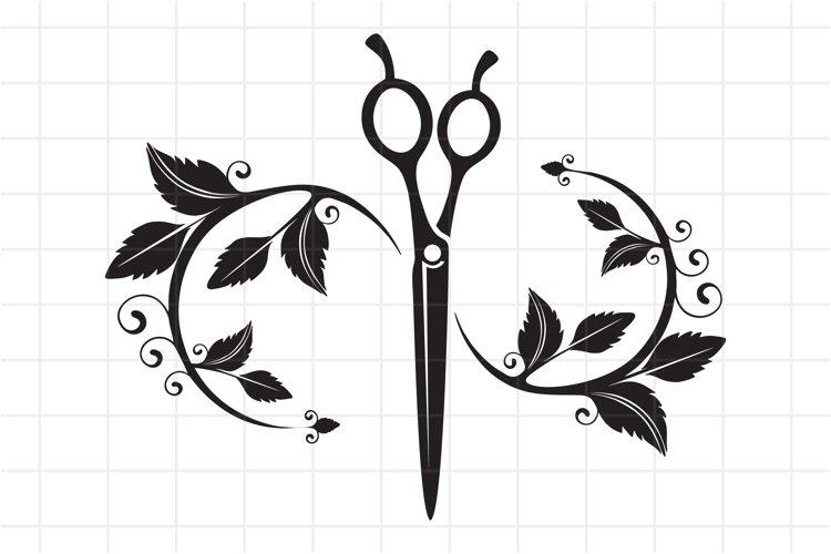 Hairdresser SVG Cut File, Beauty salon scissors logo. example image 1
