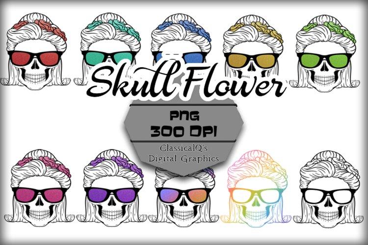 Glitter Skull Flowers Clip Art