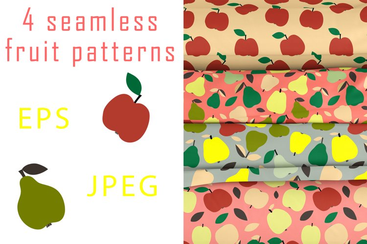 Bright fruit seamless patterns